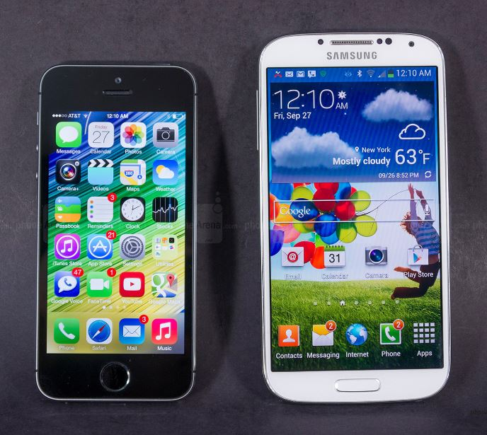 Iphone 5 VS Samsung S4 Size